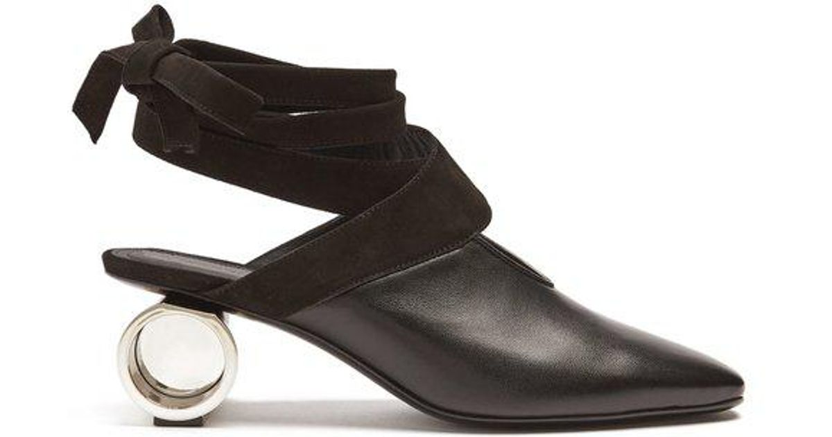 JW Anderson Leather Wrap Around Mules in Black - Lyst