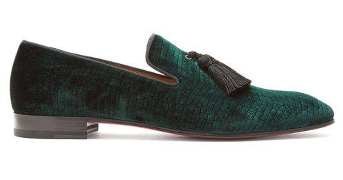 d19065f7bfcf Lyst - Christian Louboutin Stampato Reptile-effect Velvet Loafers in Green  for Men