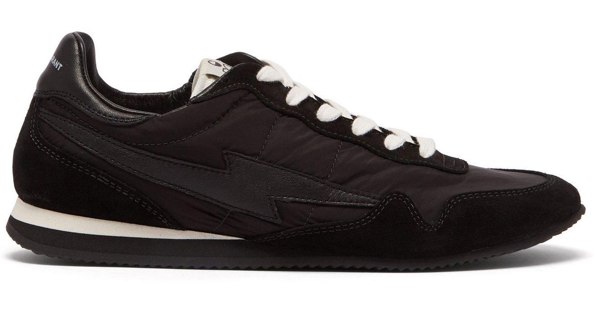 9a9010903b8 Lyst - Isabel Marant Bustee Lightning Bolt Leather And Suede Trainers in  Black