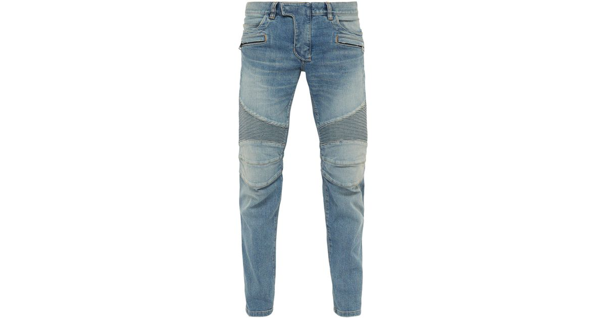 314481cc6f Balmain Tapered Ribbed Inset Biker Jeans in Blue for Men - Lyst