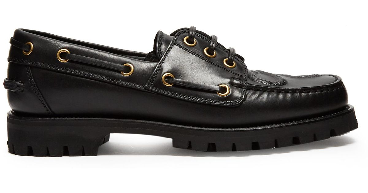 e24f4a6bc806 Lyst - Gucci Pacific Snake-embossed Leather Deck Shoes in Black for Men