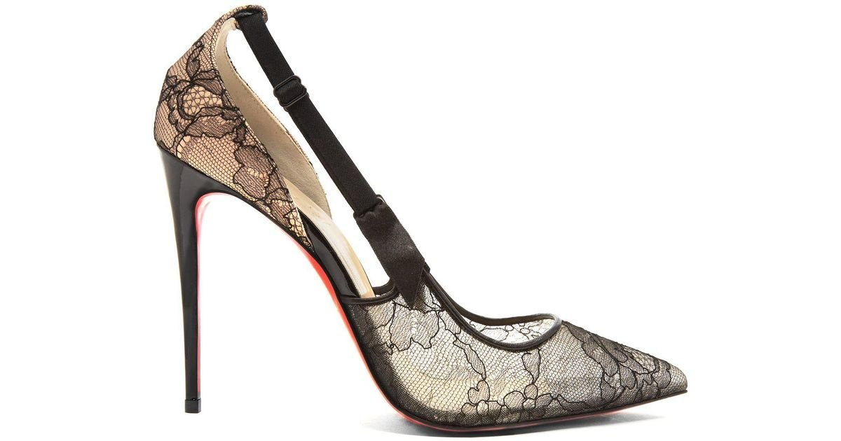 40cf22df5a9 Lyst - Christian Louboutin Hot Jeanbi 110 Lace Pumps in Black