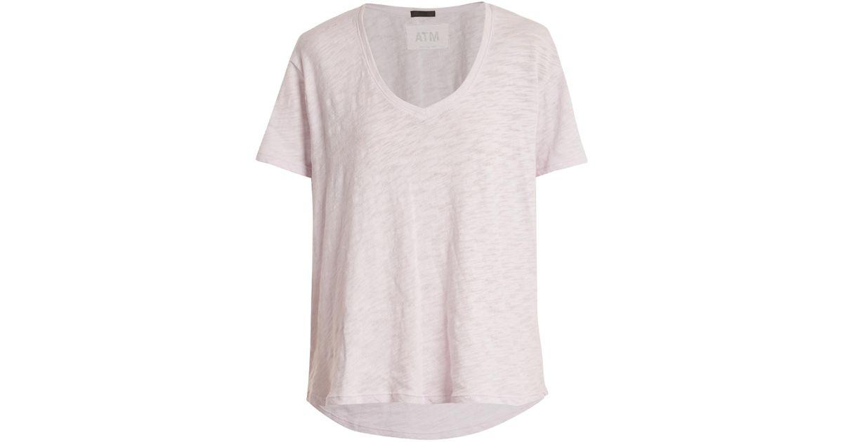 Lyst atm boyfriend v neck cotton slub jersey t shirt in for Atm t shirt sale
