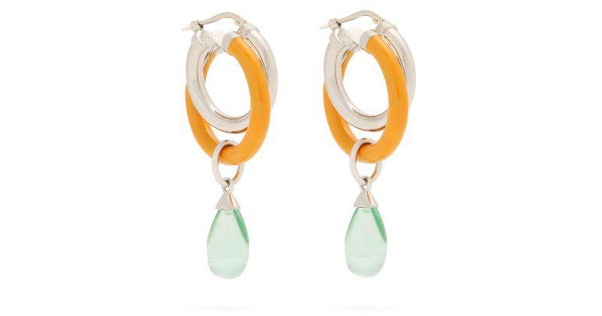 Peter Pilotto Medium glass pendant double hoop earrings 15zxRfc