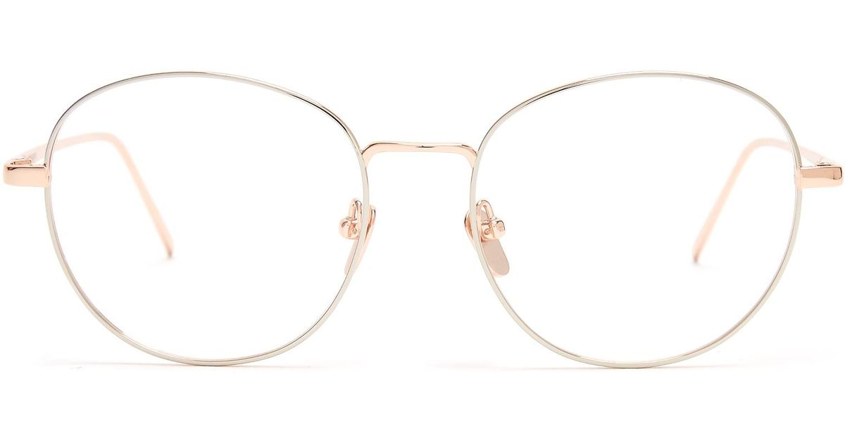 Lyst - Linda Farrow Round-frame Rose-gold Plated Glasses in Metallic