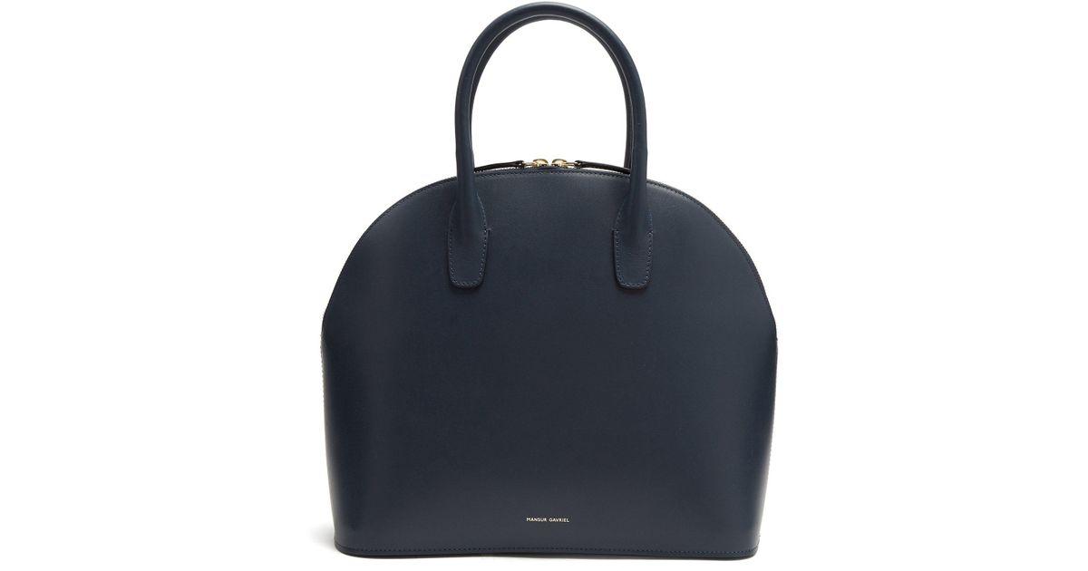 Navy-lined top-handle leather bag Mansur Gavriel QzuEmn