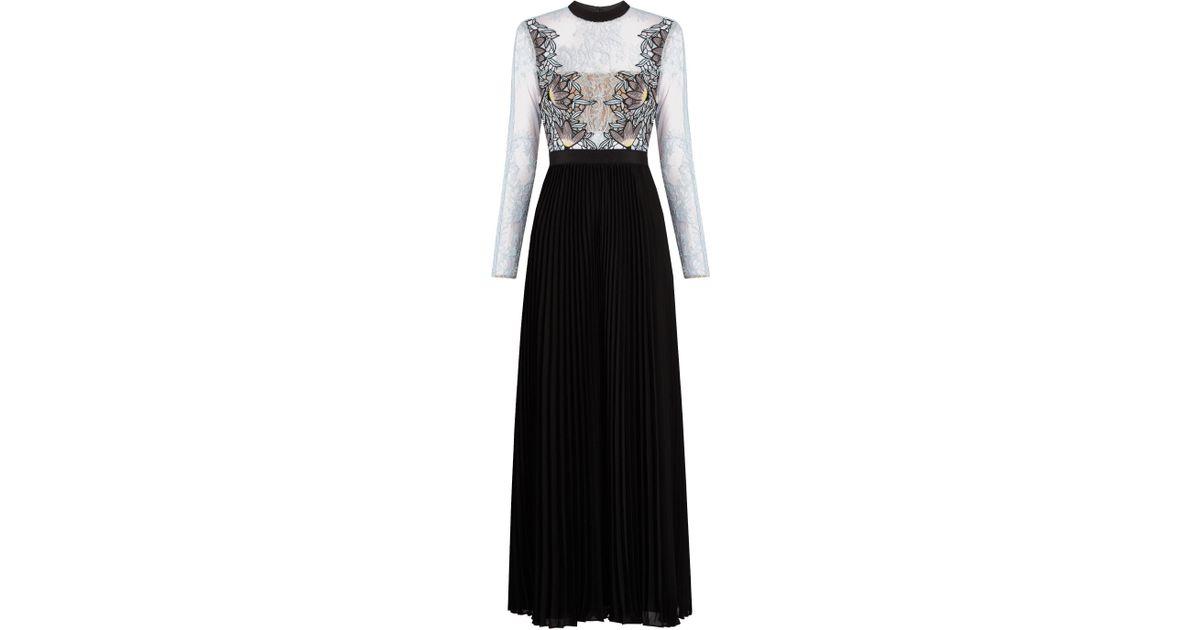8b476f523c467 Self-Portrait Moni Lace And Pleated-crepe Maxi Dress in Black - Lyst