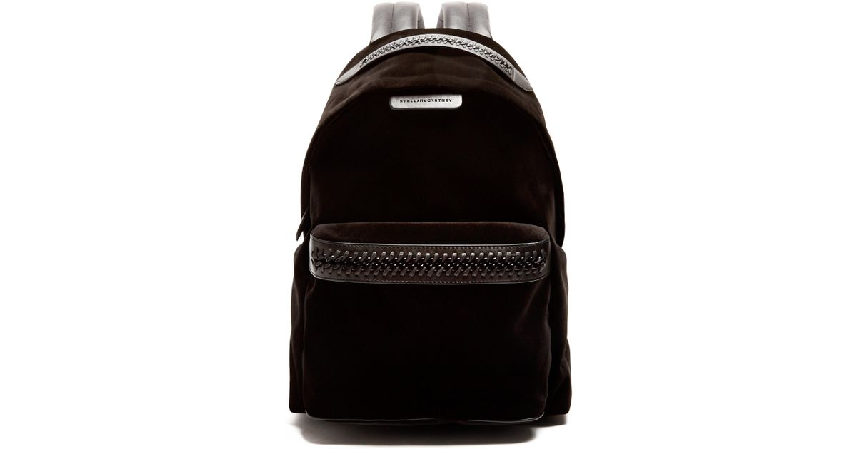 a6119003a3f7 Stella McCartney Falabella Go Medium Velvet Backpack in Black - Lyst