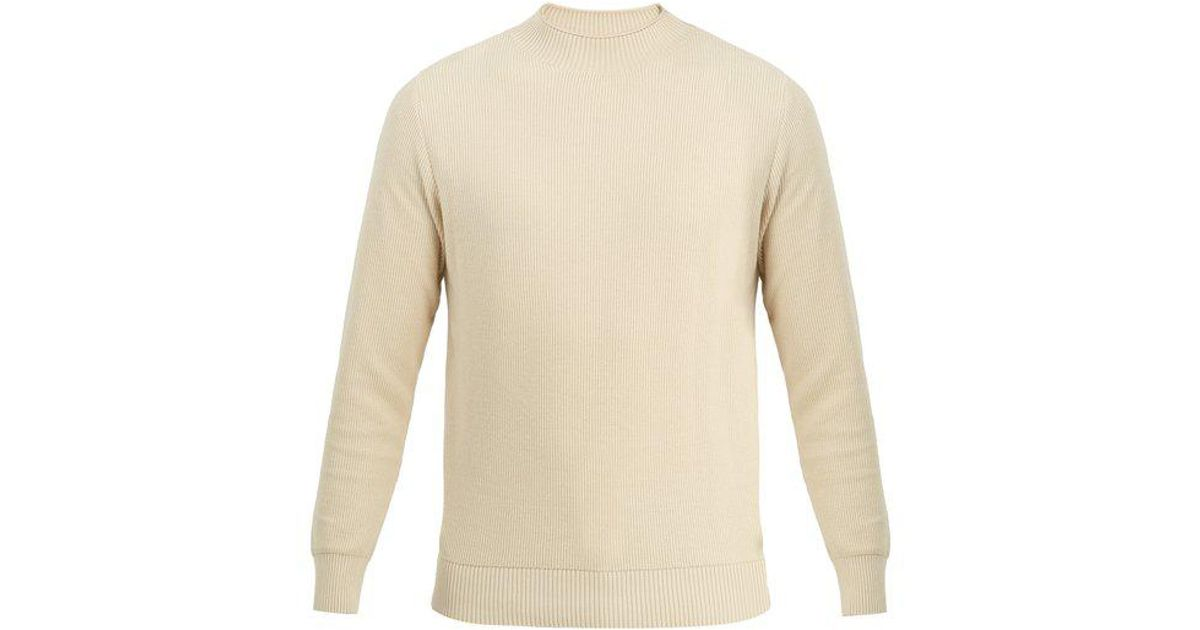 525afd19894be5 Sunspel Guernsey Ribbed Knit Cotton Sweater in White for Men - Lyst