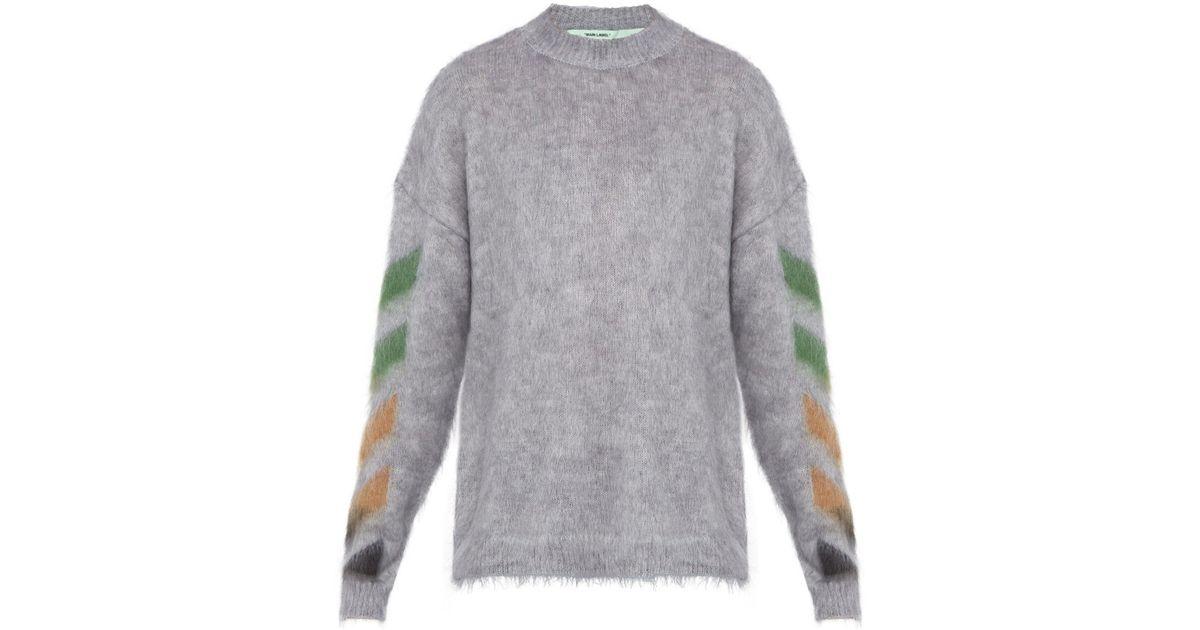 0eadd289f122 Lyst - Off-White c o Virgil Abloh Diagonal Arrow Logo Mohair Blend Sweater  in Gray for Men - Save 18%