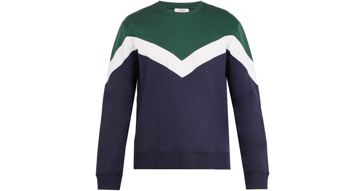 13ea195f Lyst - Valentino Tri-colour Cotton-blend Sweatshirt in Green for Men