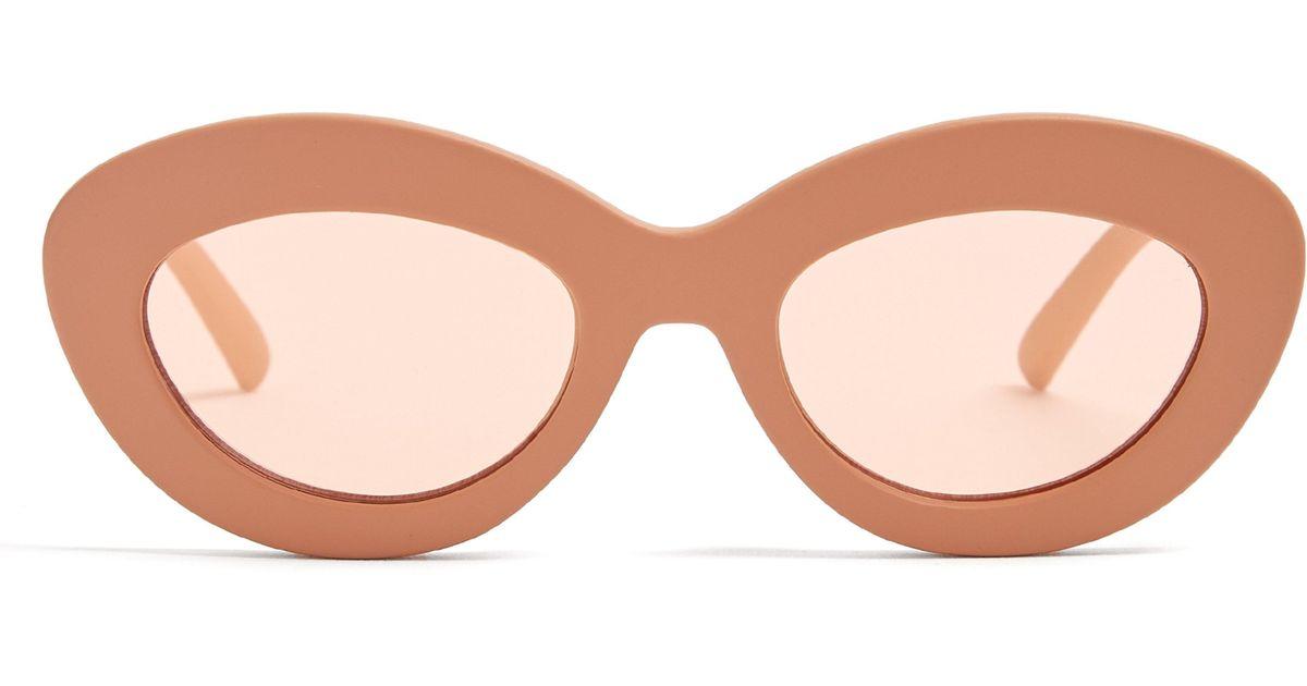 17503dcaa49 Le Specs Fluxus Oval Cat-eye Acetate Sunglasses - Lyst