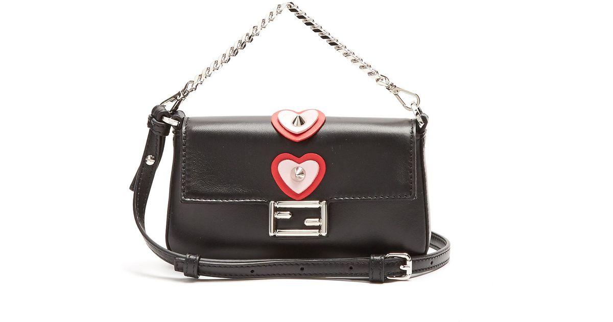 4b8fd5717446 Lyst - Fendi Micro Baguette Heart-appliqué Cross-body Bag in Black