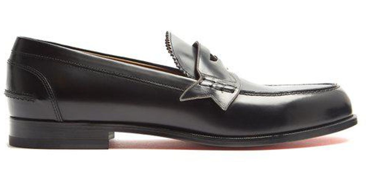 648a4d19823 Christian Louboutin Black Monono Leather Penny Loafers for men