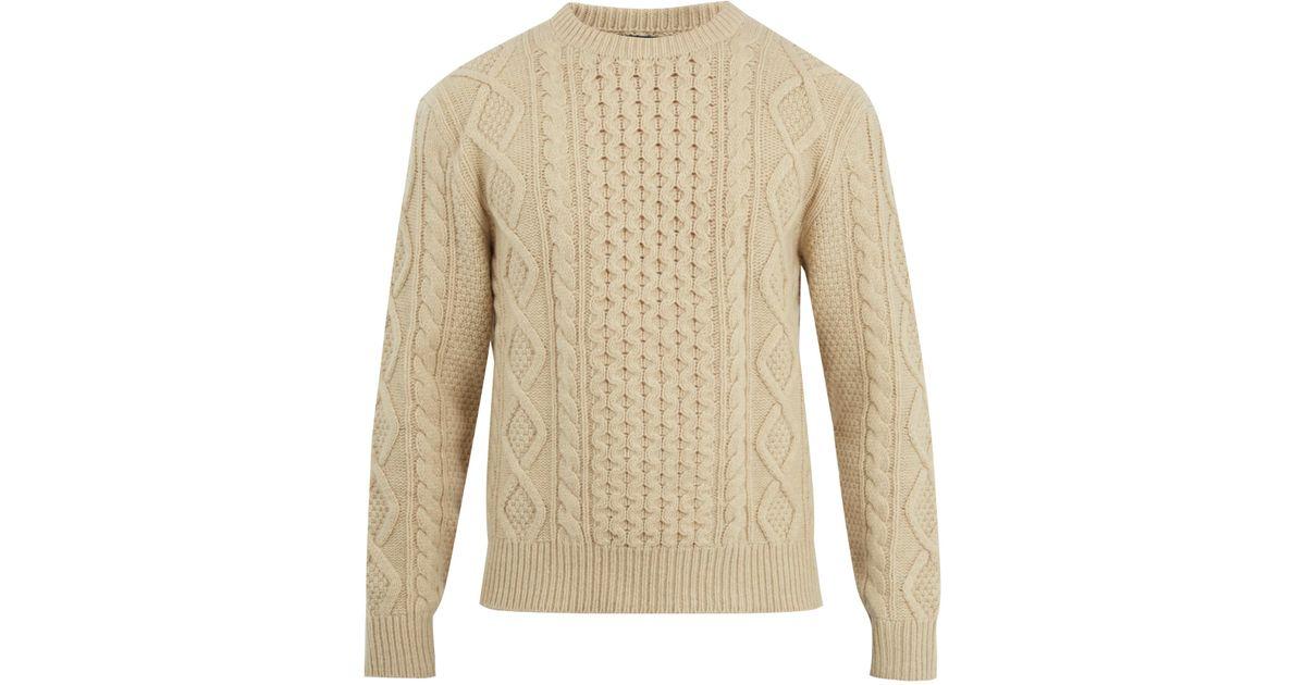 d444f224805cc2 Lyst - Polo Ralph Lauren Aran-knit Wool-blend Sweater in Natural for Men