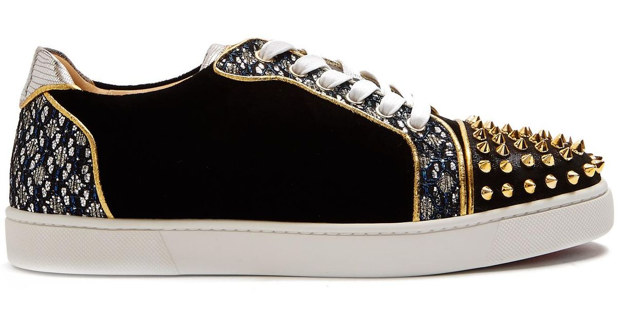 aadeed7be2ca Christian Louboutin Viera Spike-embellished Velvet Trainers in Black - Lyst