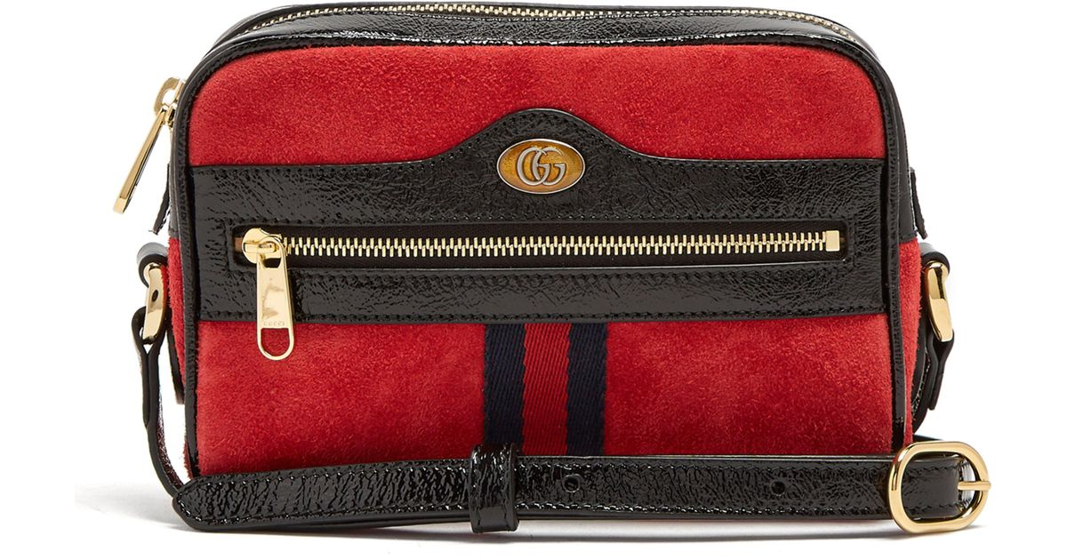 4456f8650821 Sac bandoulière en daim Ophidia mini Gucci en coloris Rouge - Lyst