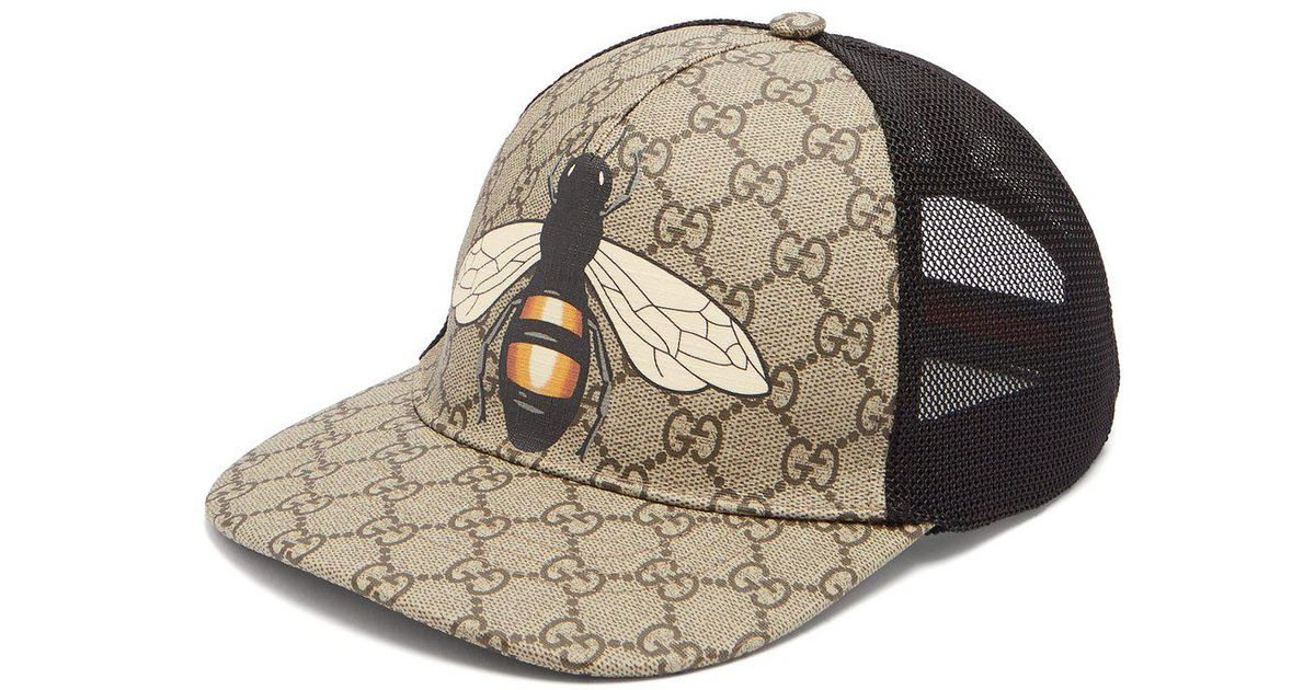 ed4f001ed4e83 Gucci Gg And Bee Print Mesh Hat in Natural for Men - Lyst