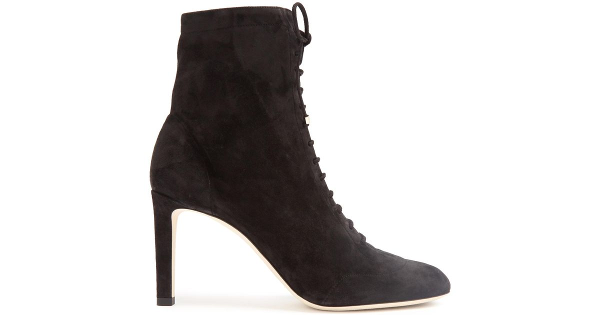 084307c2be802 Jimmy Choo Daize Lace-up Suede Ankle Boots in Black - Lyst