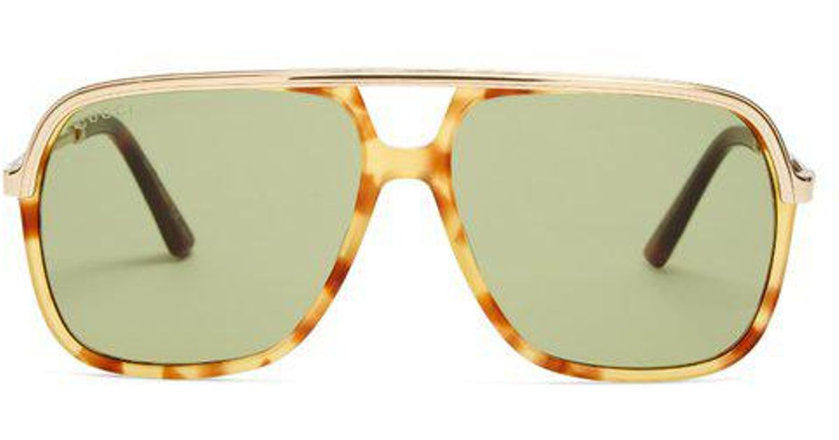 Aviator-frame Web-striped sunglasses Gucci J9EBjhf7AB