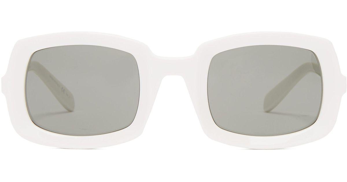 8fe32496ed Lunettes de soleil en acétate à monture épaisse Saint Laurent en coloris  Blanc - Lyst