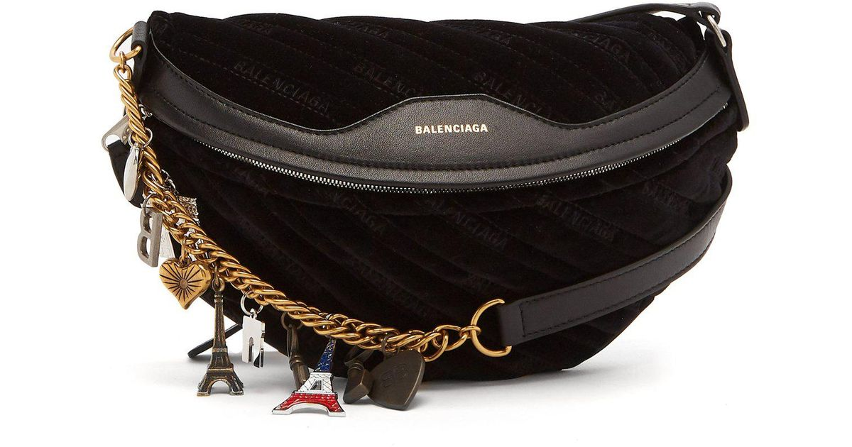 66c334434a9e Lyst - Balenciaga Souvenir Velvet Belt Bag in Black
