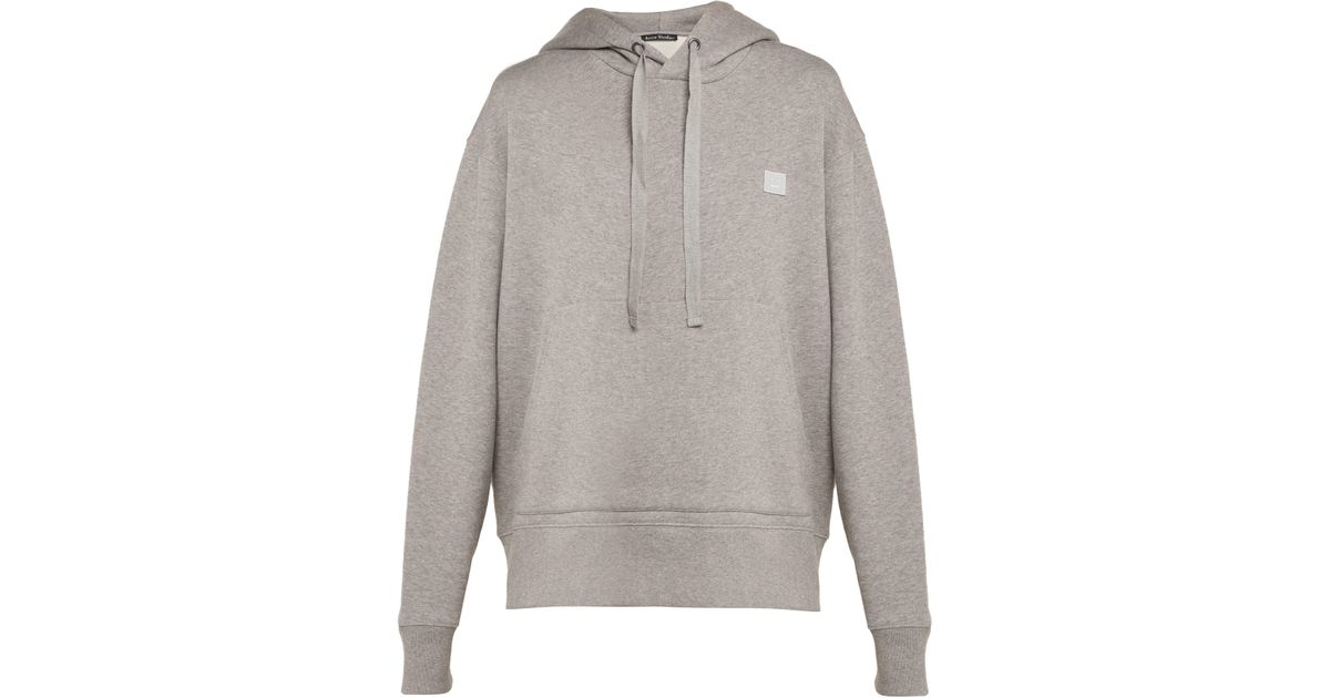 Lyst - Sweat-shirt en coton à capuche Ferris Face Acne en coloris Gris d46796294b7