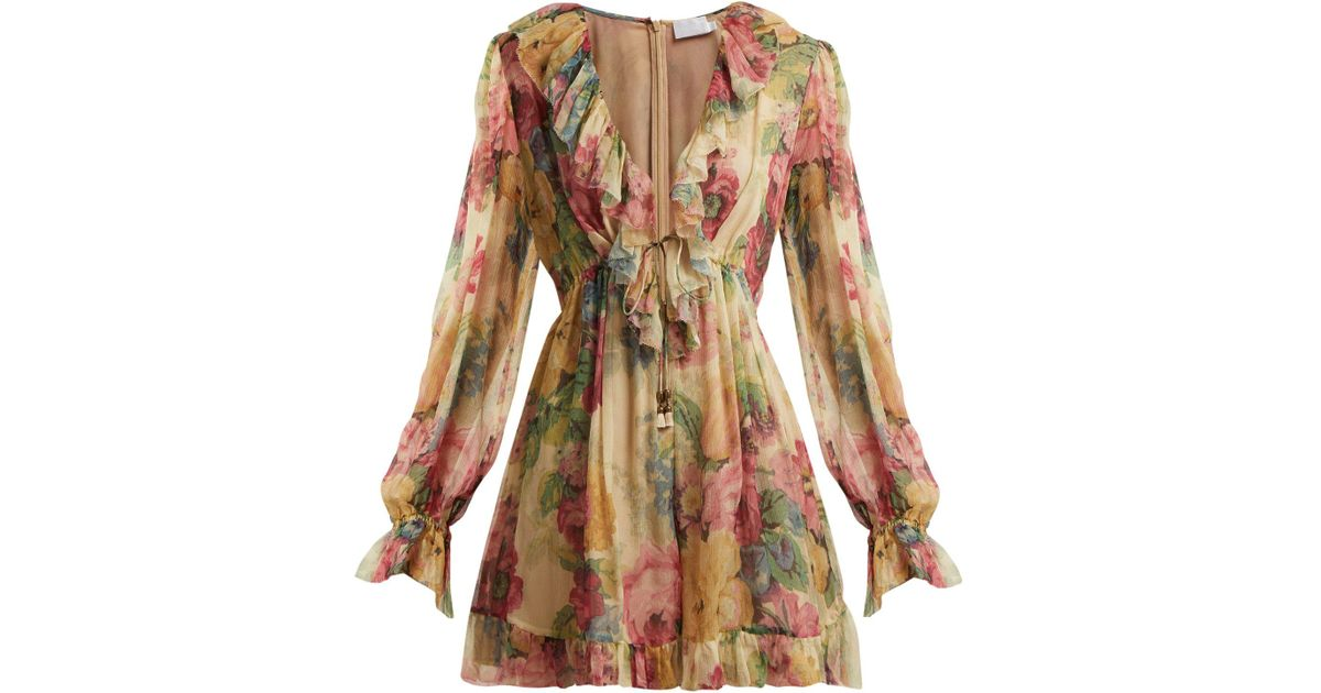 16575dc81a2 Lyst - Zimmermann Melody Floating Floral Print Silk Playsuit