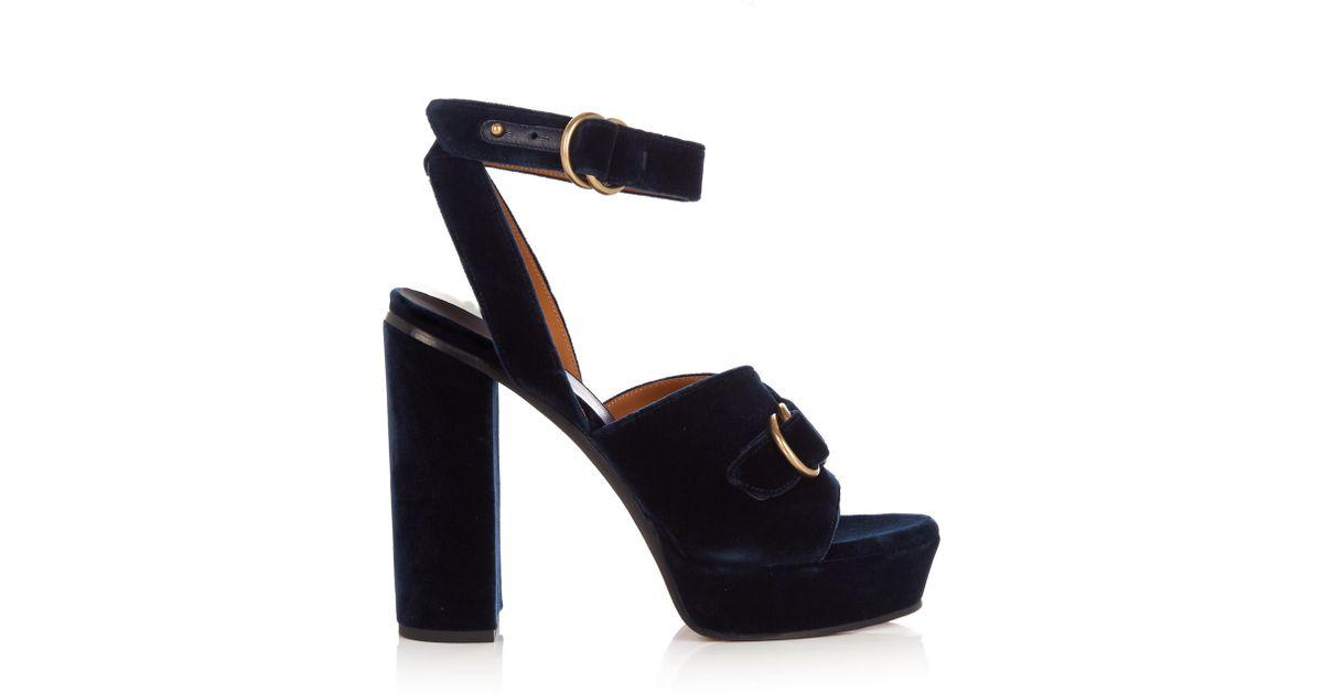 0834b49358e4 Lyst - Chloé Kingsley Velvet Sandals in Blue
