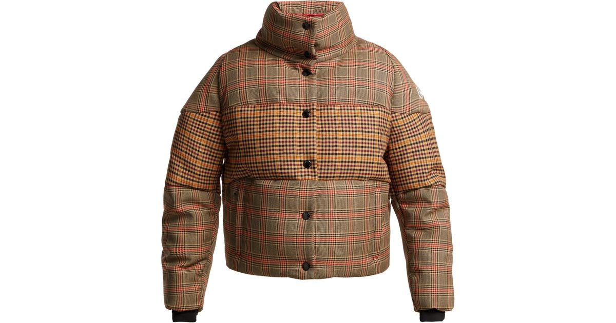 9be0ee6f9 Moncler Brown Cer Checked Wool Blend Jacket