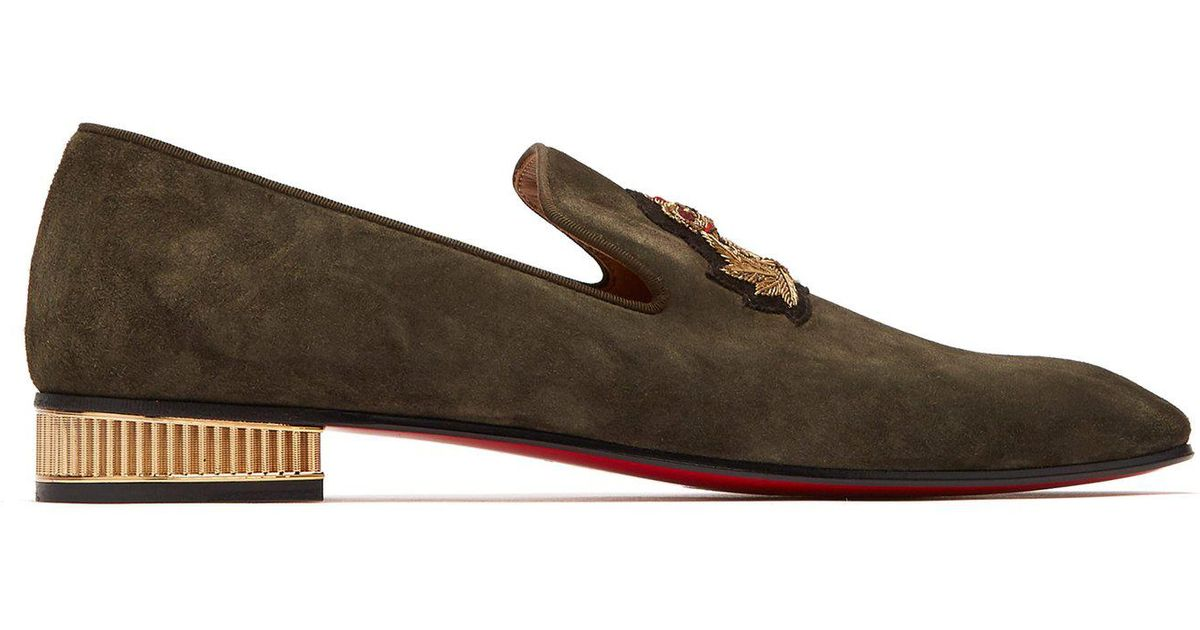 c9e54d359a9 Lyst - Christian Louboutin Captain Colonnaki Crest Suede Loafers in Brown  for Men