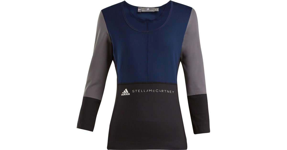 4e1b60d2e11dc3 adidas By Stella McCartney Blue, Black And Gray Yoga Comfort Top in Blue -  Lyst