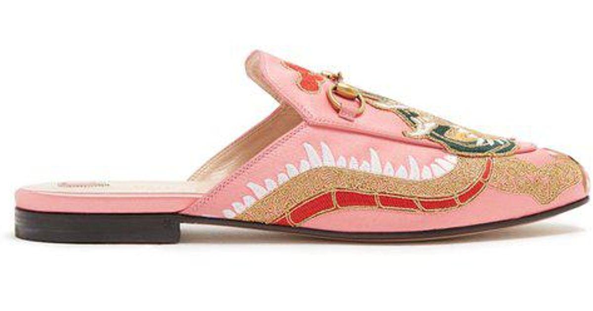 01ad1199114 Lyst - Gucci Princetown Jacquard Backless Loafers in Pink