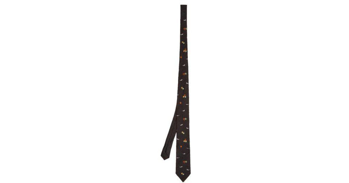 Sea life-print silk tie Prada dL32zZB