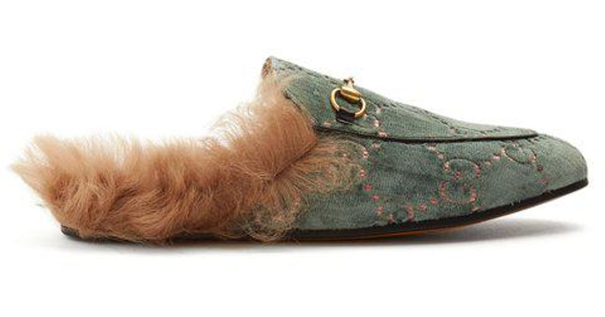 0c434b227d3 Lyst - Gucci Princetown Shearling-lined Velvet Loafers in Green