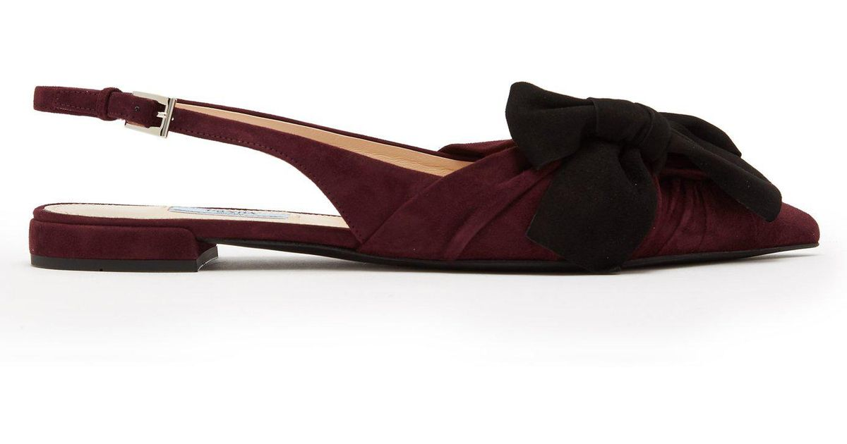 0d48d9477 Lyst - Prada Bow-embellished Point-toe Suede Flats