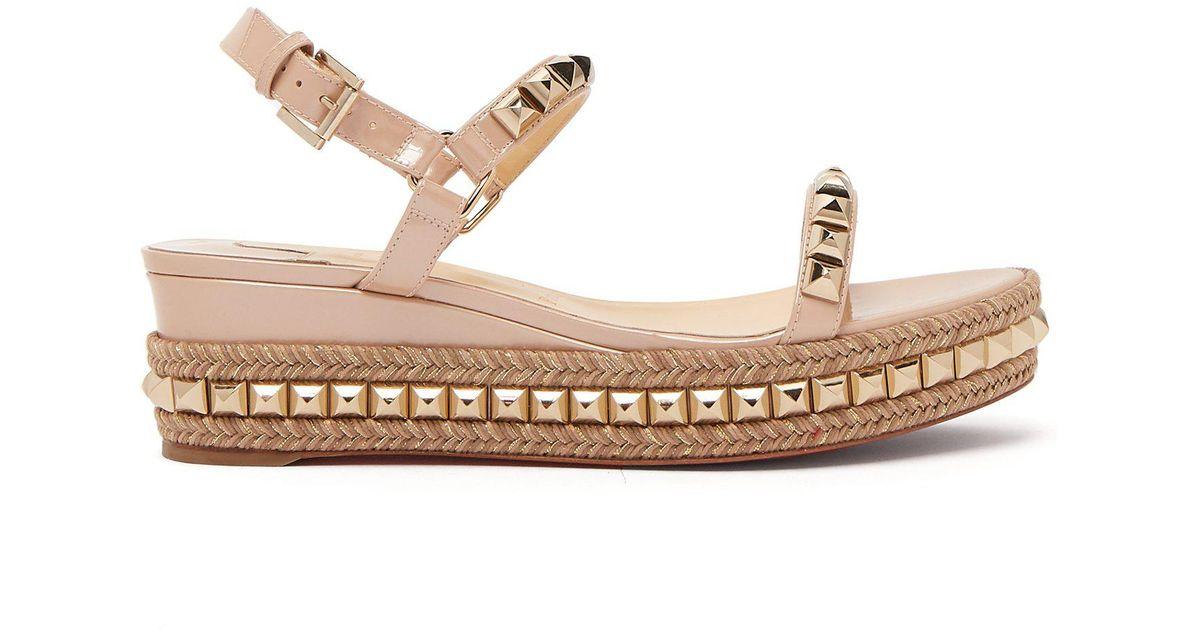 online store 55070 b5a71 Christian Louboutin Multicolor Cataclou 60 Leather Flatform Espadrille  Sandals