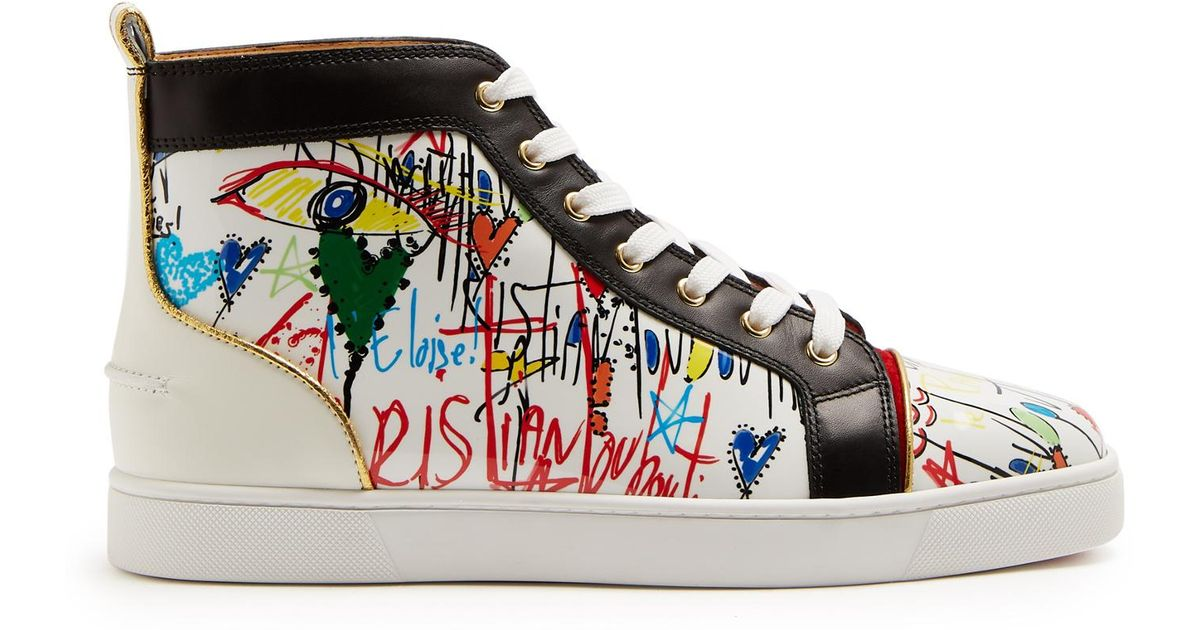 88469150b86 Christian Louboutin White Louis High-top Loubi Tag-printed Leather Trainers  for men