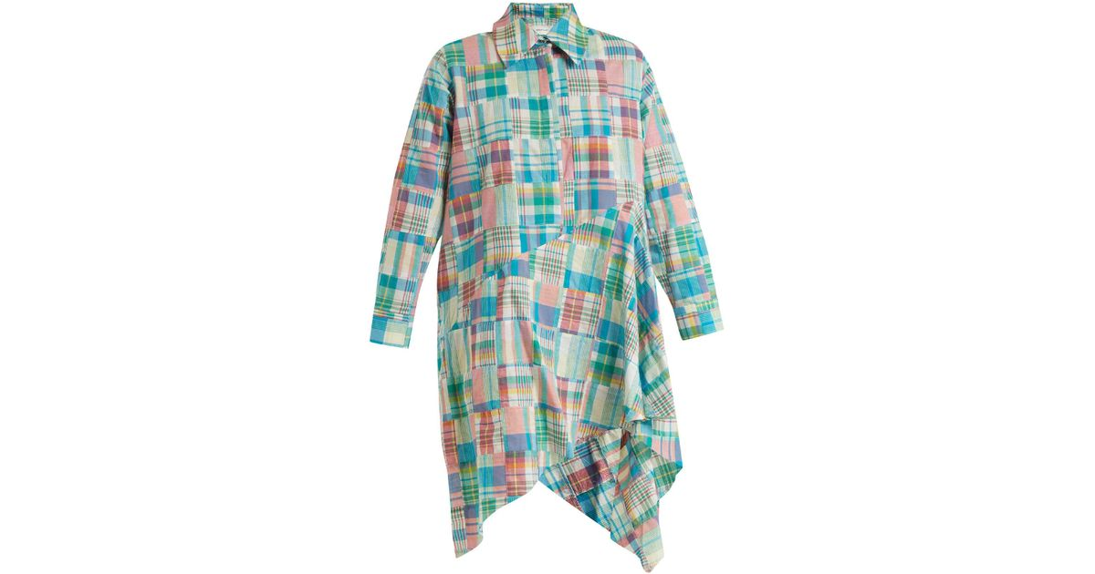Gingham asymmetric-hem shirtdress Marques Almeida JRtCbzT