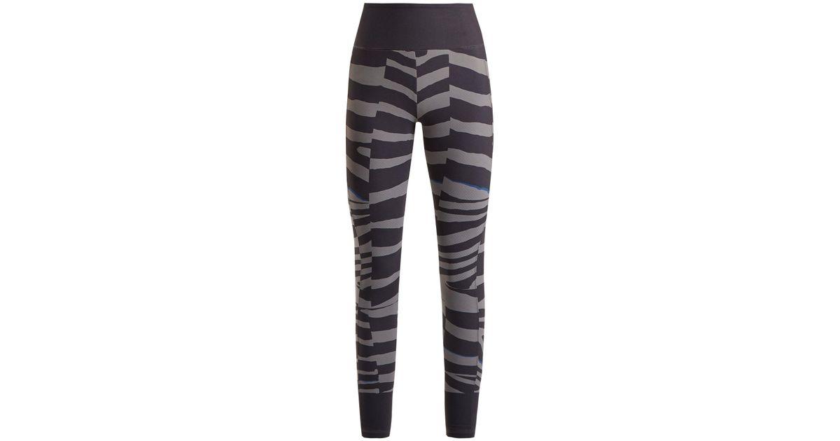6ce98d08ac adidas By Stella McCartney Train Miracle Tiger Stripe Print Leggings in  Gray - Lyst