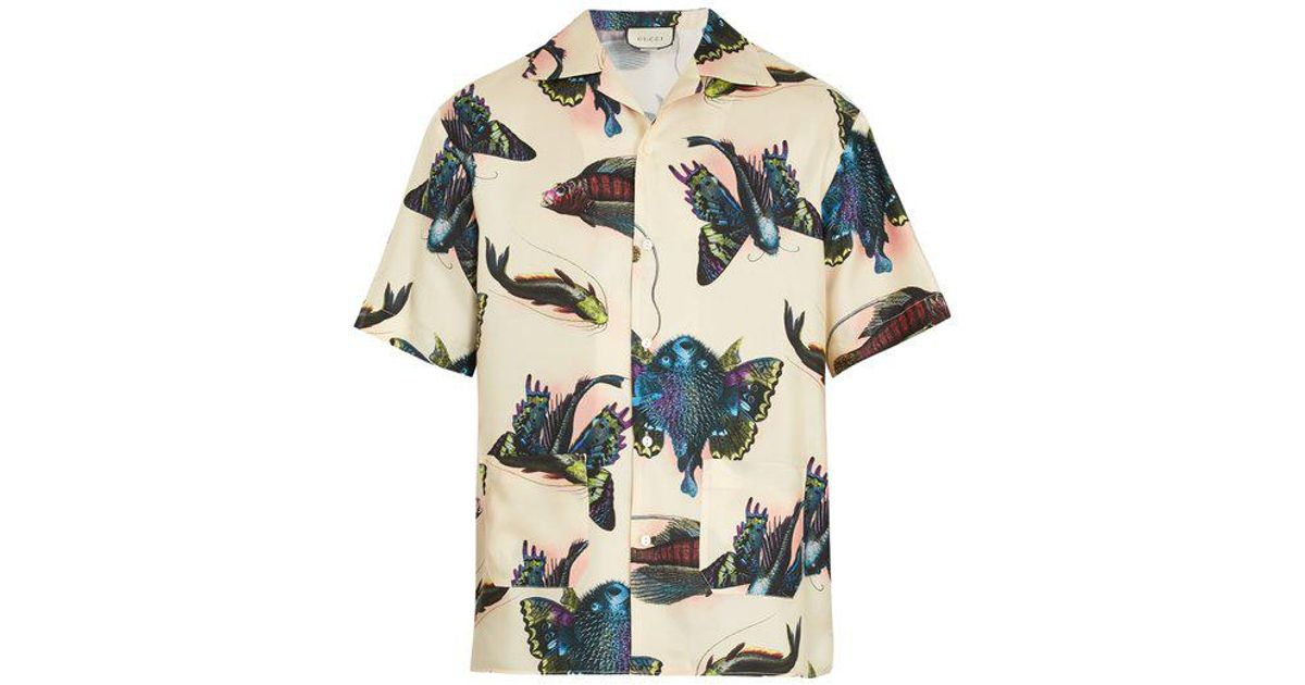 6a682f6b350 Lyst - Gucci Fish-print Short-sleeved Silk-satin Twill Shirt for Men