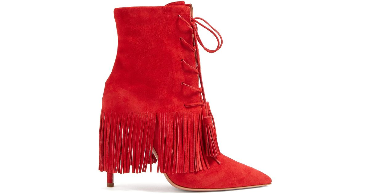 Suede Mustang 105 Fringed Ankle Boots
