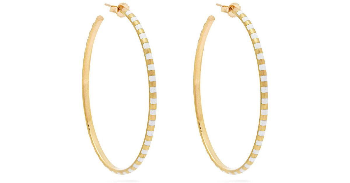 Marc Alary Metallic 18kt Gold And White Enamel Hoop Earrings