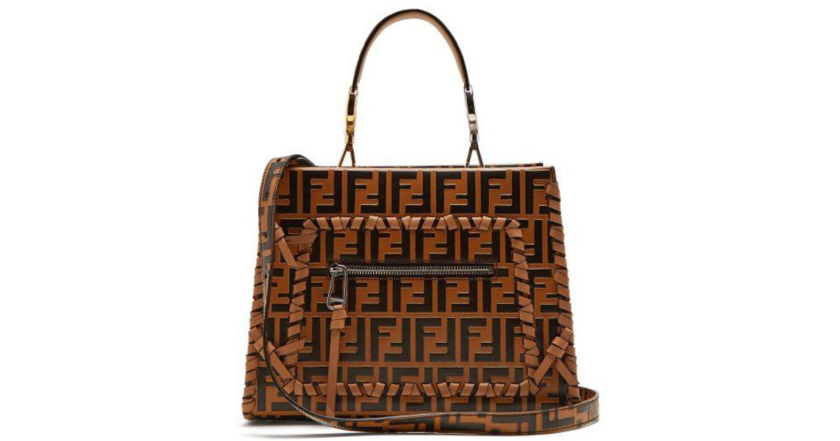 528ccff72dd2 Lyst - Fendi Runaway Logo-embossed Leather Bag in Brown