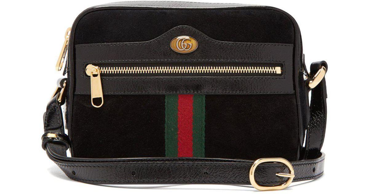 b4a887a145f6 Lyst - Sac bandoulière en daim noir Ophidia mini Gucci en coloris Noir