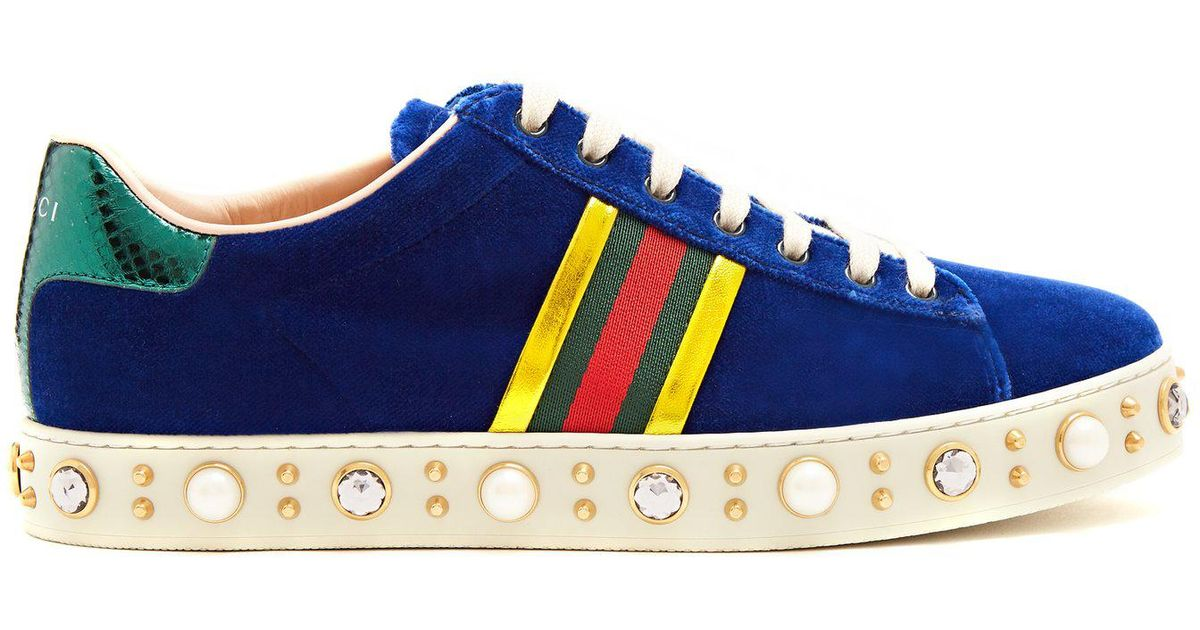 ec7b9b6dca36 Lyst - Gucci New Ace Faux-pearl And Crystal Velvet Trainers in Blue