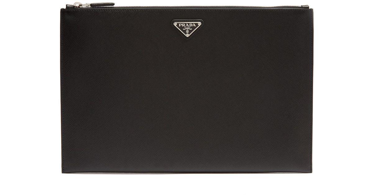 Lyst prada saffiano leather document holder in black for men for Prada mens document holder