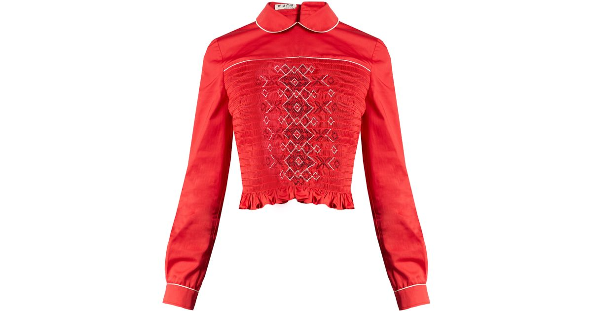 0f7c7236a81 Miu Miu Smocked Front Cotton Top in Red - Lyst