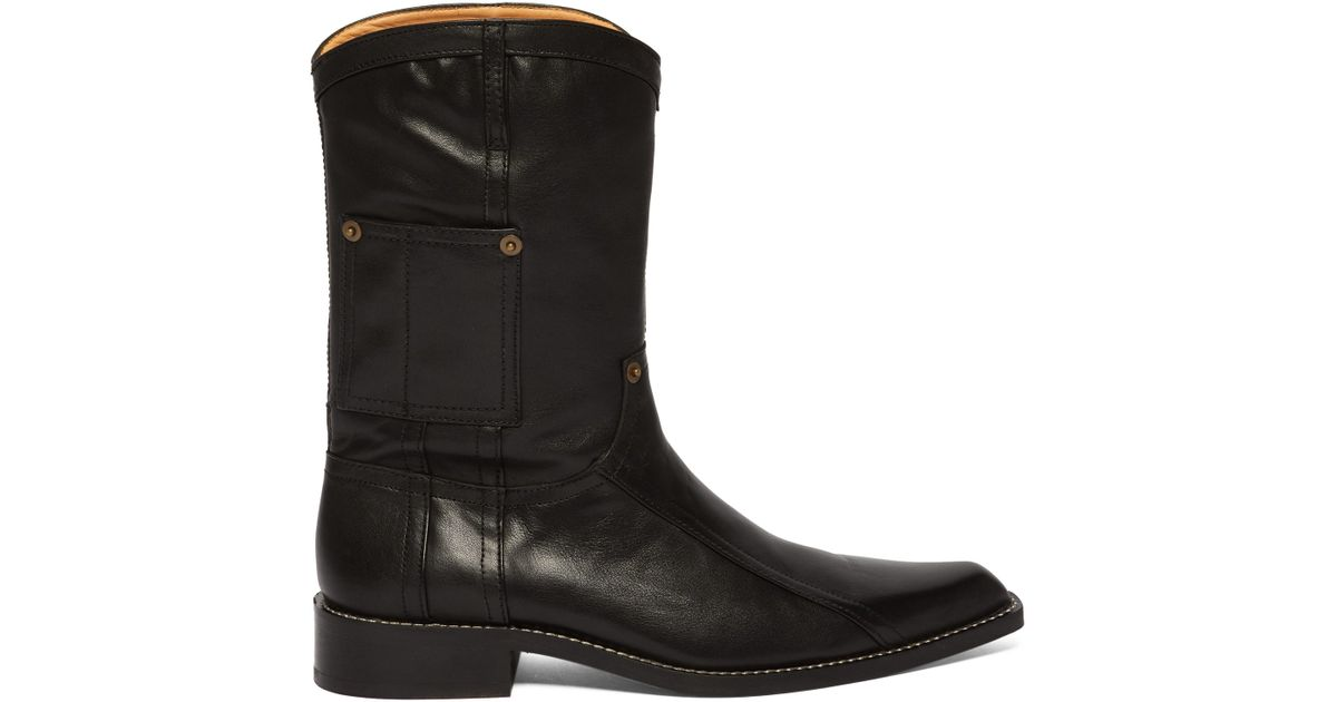 0b297fa5e95 Martine Rose Black Leather Cowboy Boots for men