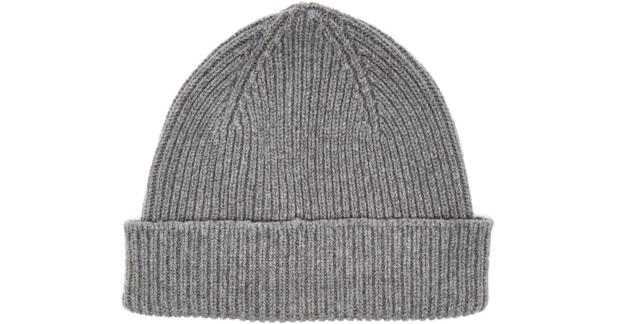 72c629d216f Paul Smith Cashmere Beanie Hat in Gray for Men - Lyst